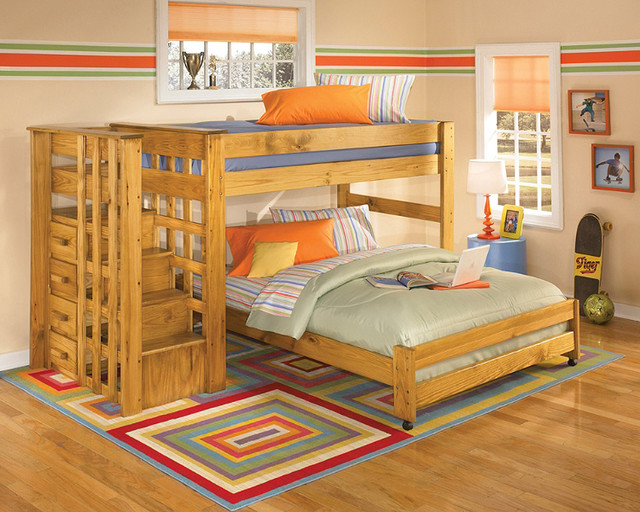 Over Full Loft Bunk Bed with Stair Step - Contemporary - Bunk Beds ...