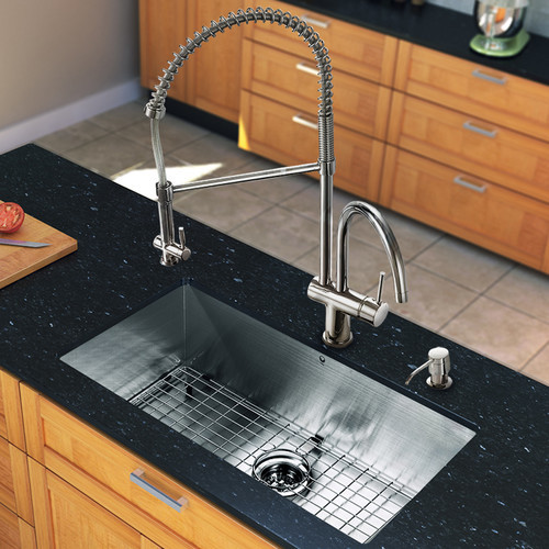 """All in One 30"""" Undermount Kitchen Sink and Faucet Set modern-bath-products"""