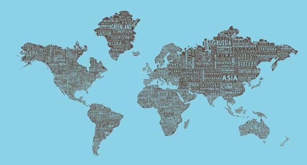"""1-World Text Map Wall Mural - Brown on Blue - Wallpaper - 3 panel - 107 x 57"""" modern-wallpaper"""
