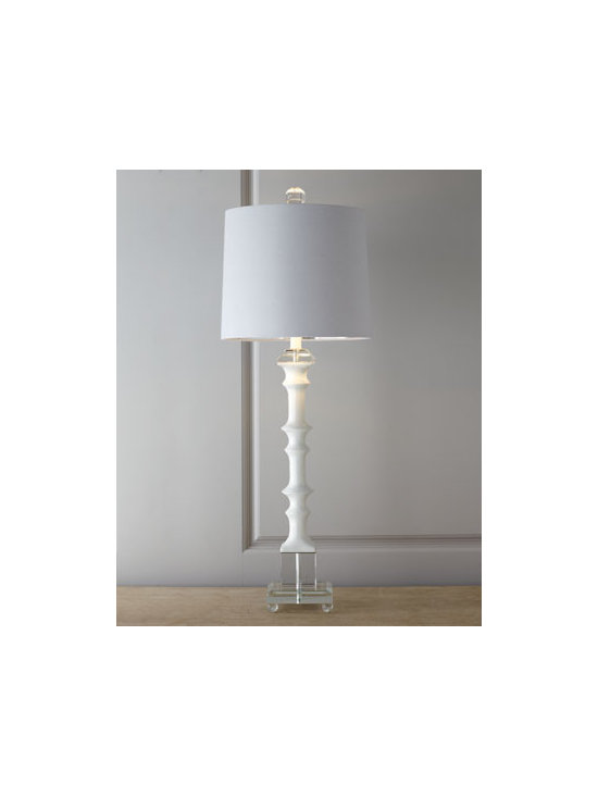 "Horchow - White ""Bamboo"" Table Lamp - Bamboo-look table lamp in glossy white is trimmed with accents of clear crystal and topped with a white linen shade for a contemporary Asian look adaptable to a variety of modern interiors. Hand cast of polyresin with clear crystal accents. Shade is l..."