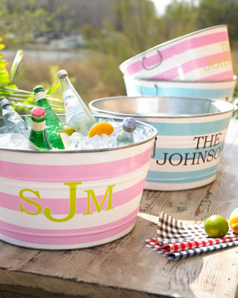 Personalized Striped Party Tub traditional-wine-and-bar-tools
