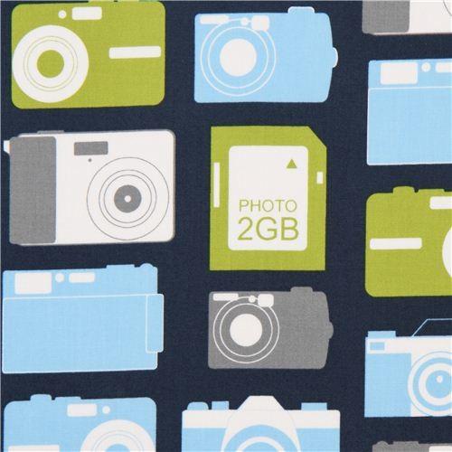 navy blue photo camera fabric by Robert Kaufman fabric