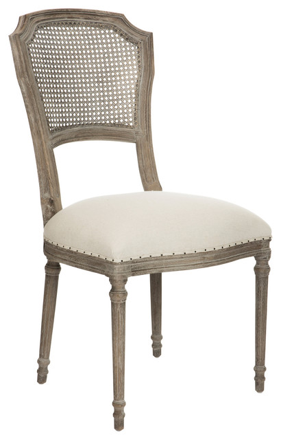 Pair Camilla French Country Washed Taupe Linen Dining Chair