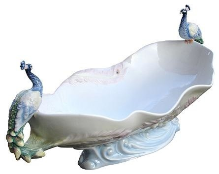 17.75 Inch White Porcelain Tray with Perched Peacock Handles - Traditional - Dinnerware - by ...