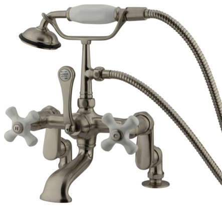 Deck Mount Clawfoot Tub Filler with Hand Shower modern-bathroom-faucets-and-showerheads