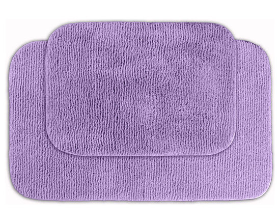 Sands Rug - Cheltenham Purple Washable Bath Rug (Set of 2) - Add a layer of plush comfort and safety with the inviting Cheltenham bath and spa rug collection. Each piece, whether a bath runner, bath mat or contoured rug, is created from soft, durable, machine-washable nylon. Each floor piece is backed with skid-resistant latex for safety.