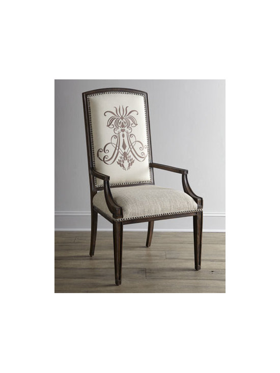 """Horchow - Two Donabella Insignia Armchairs - Traditional-style chair gets a dramatic upgraded when enhanced with an elegant insignia motif on front and back. Mixed hardwood frame. Polyester upholstery. Sold in pairs; each, 24""""W x 26""""D x 46""""T. Imported. Boxed weight, approximately 37 lbs. ...."""