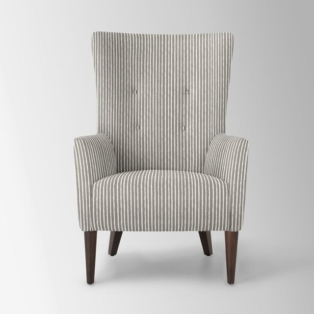 Victor Armchair, Painted Stripe, Gravel contemporary-armchairs