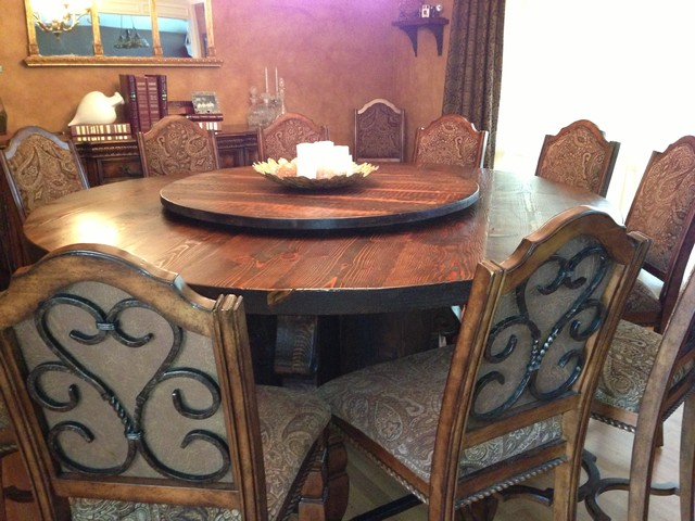 Lazy Susan Reclaimed Table Craftsman Dining Tables