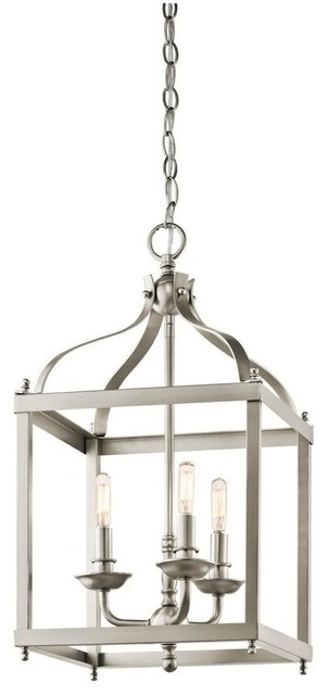 Open Frame Foyer Light : Kichler larkin three light brushed nickel open frame foyer