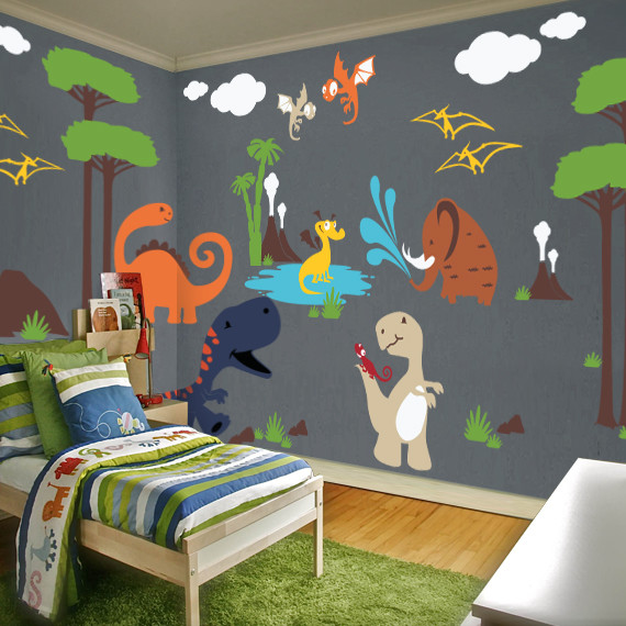 Dinosaur land playroom wall decal contemporary kids for Kids dinosaur room decor