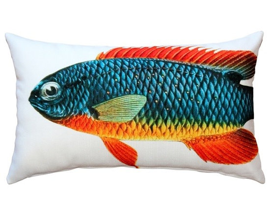 Pillow Decor - Pillow Decor - Guppy Fish Pillow 12x20 - This double sided Guppy decorative pillow is printed on both sides with the head and body of the fish on the front and the tail on the back. Printed on an indoor outdoor spun polyester fabric.