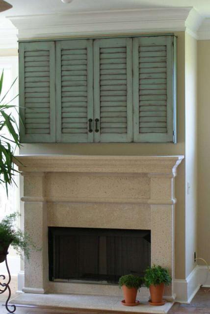 Shutter door tv cabinet - Mediterranean - jacksonville - by Paravan Wood Design