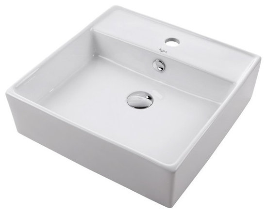 Kraus KCV-150 White Square Ceramic Sink - Add an elegant touch to your bathroom with a ceramic washbasin