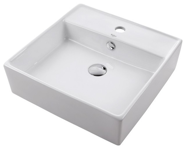 Kraus KCV-150 White Square Ceramic Sink - Modern - Bathroom Sinks ...