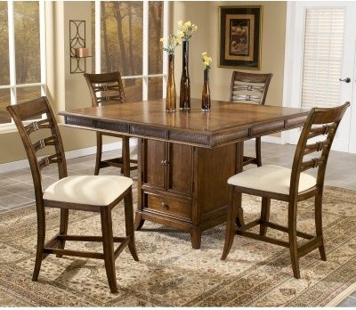 Lynnfield 5-Piece Rectangular Counter Height Dining Set with Leaf & Storage modern-dining-tables