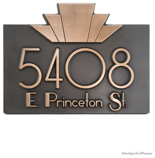 moderne art deco address plaque 14 x 10 5 in bronze patina house numbers milwaukee by. Black Bedroom Furniture Sets. Home Design Ideas
