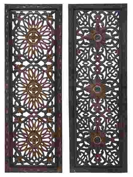 Open carvings wood wall panels set of traditional