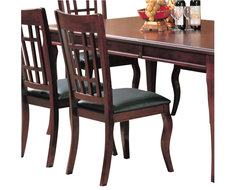 Coaster Newhouse Side Chair with Faux Leather Seat in Cherry Finish transitional-dining-chairs
