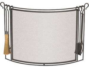 bowed fireplace screen with hearth tools