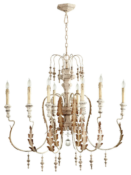 Kathy Kuo Home - Marion French Country White Washed 8 Light Chandelier - The Marion chandelier is inspired by the antique rural reproductions of centuries- old aristocratic European design.  Featuring imperfectly formed scrolling arms, wood accented bobeches and finials, this endearing creation pays homage to Baroque styling but in the primitive manner found in the rural European Farmhouses of centuries past
