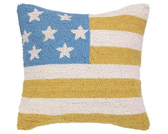 PHI - PHI American Flag Hood Pillow-Blue/Yellow - Blue and yellow American Flag Hood pillow by PHI