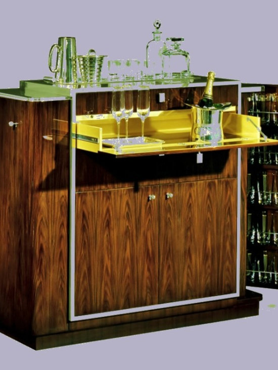 Cool Stuff - DUKE BAR -This 1930s-inspired bar cabinet is styled in rosewood with polished stainless steel trim -