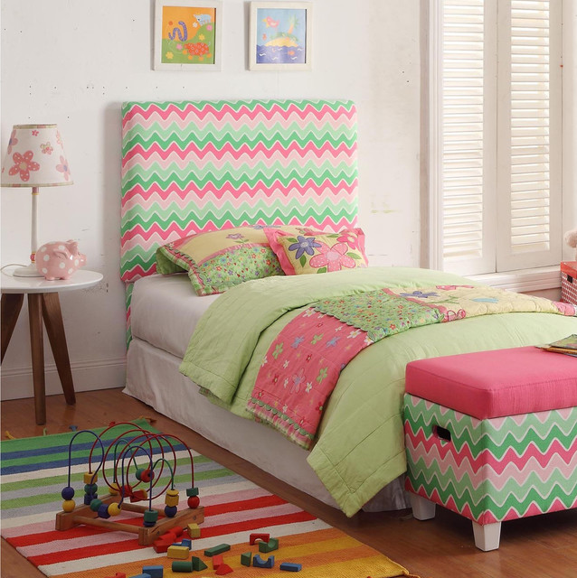Tete De Lit Fille Deco - Kids Twin Pink Green Chevron Upholstered Headboard