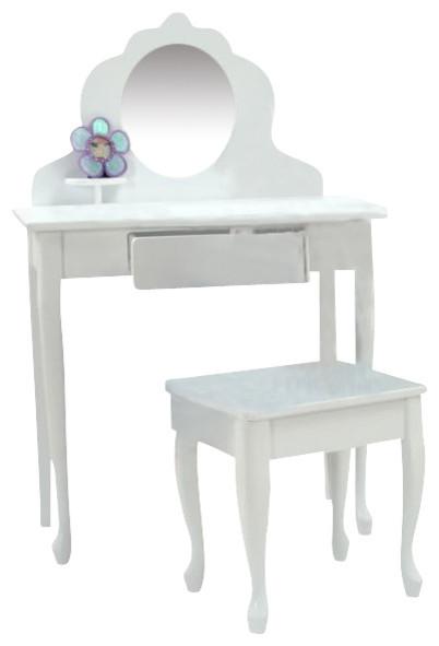 Kidkraft medium diva kids wood makeup vanity table stool for Makeup desk for girl