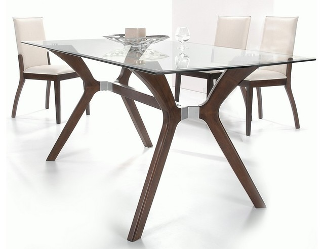 And Clear Glass Top Leather Dining Set Furniture Modern Dining Sets