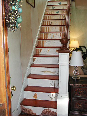 Stairwell Transformation with Woodland Stream Stair Mural Casart eclectic staircase