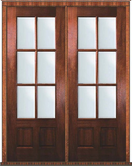 Prehung patio double door 96 mahogany 3 4 lite 6 lite tdl for Double entry patio doors