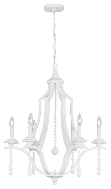 Parson Six Light Wet White Up Chandelier transitional-chandeliers