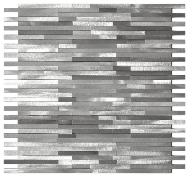 Gray blends thin lines aluminum mosaic tile contemporary mosaic tile by eden mosaic tile