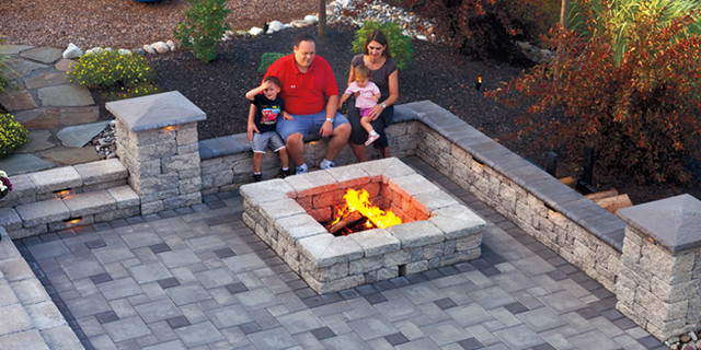 Square Fire Pit And Seating Wall Jpg