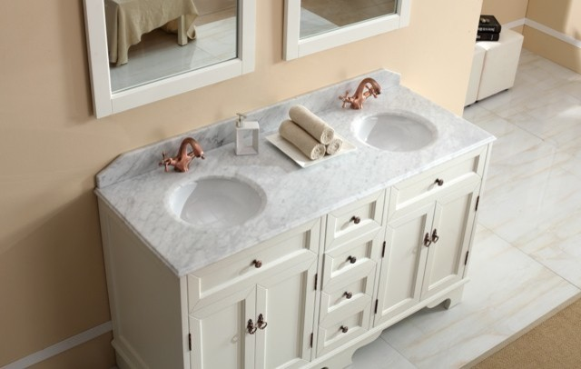 Casoria Traditional Double Basin White Bathroom Vanities Traditional Ba