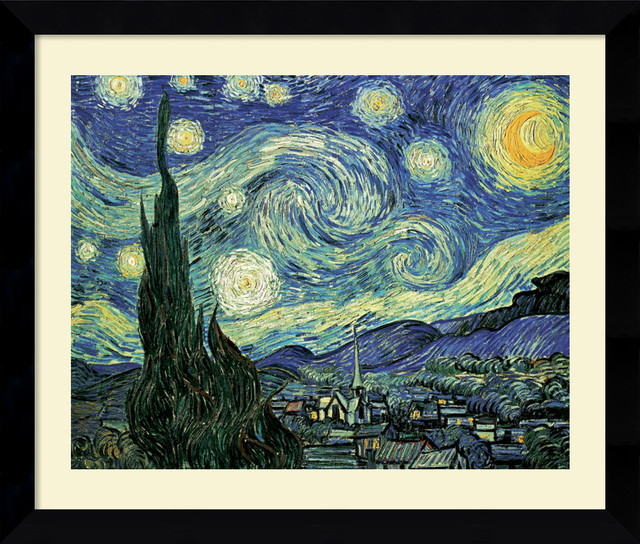 The Starry Night Framed Print by Vincent Van Gogh traditional-prints-and-posters