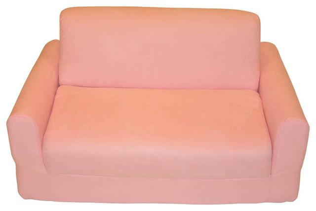 Fun Furnishings Micro Suede Sofa Sleeper in Pink traditional-kids-sofas