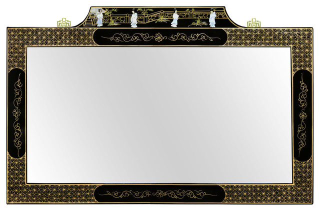 Black Lacquer Mirror W Mother Of Pearl Dancing Ladies