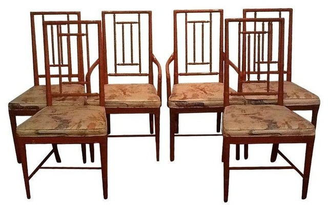 asian dining room chairs | Pre-owned Vintage Chinoiserie Dining Chairs - Set of 6 ...