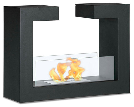 Moda Flame - Beja Free Standing Floor Indoor Outdoor Ethanol Fireplace - Black - Beja modern fireplace has a distinctive contemporary look as a fun geometric shape that is sure to impress. constructed from highest grade of steel, powder coated, includes tempered glass on either side to act as a barrier from the real flame of the fire.