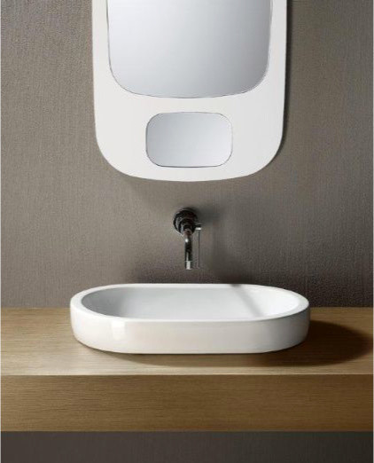 Flat Bathroom Sink : ... Oval Shaped Ceramic Vessel Sink by GSI contemporary-bathroom-sinks