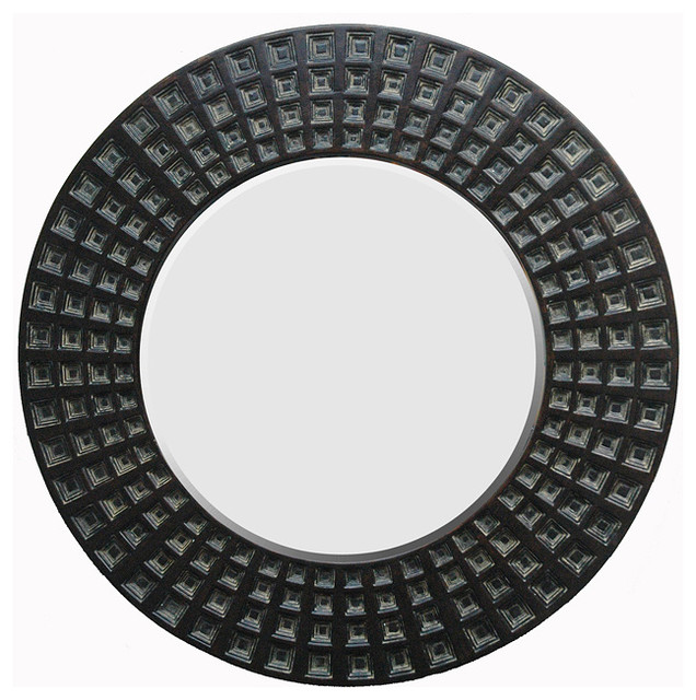 Round Framed Dark Gold Mirror contemporary mirrors