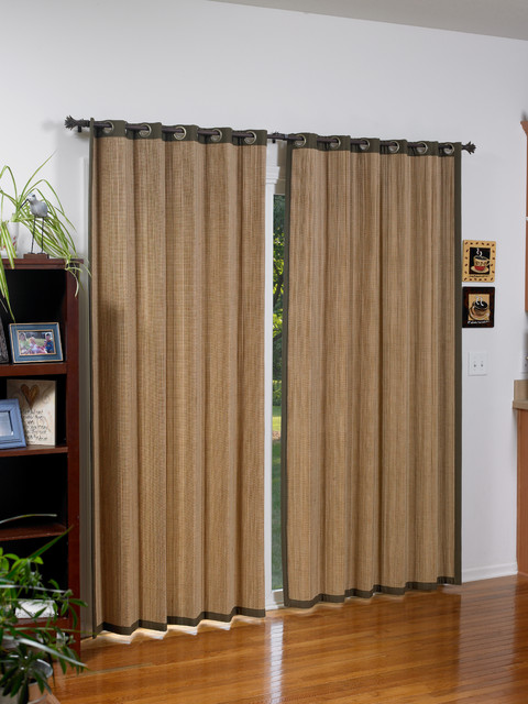 Woven wood grommet panels tropical window treatments other metro by - Woven wood wall panels ...
