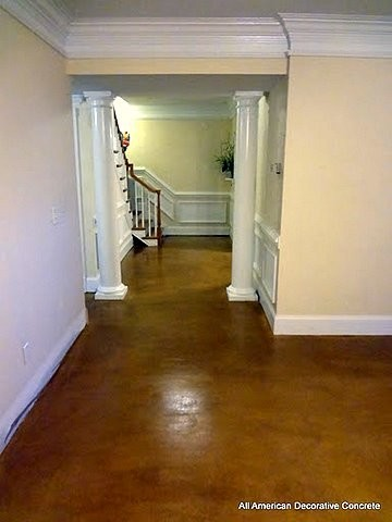 stained concrete modern basement atlanta by all american decorative concrete. Black Bedroom Furniture Sets. Home Design Ideas