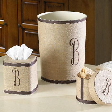 Monogrammed Linen Accessories Ribbon Trim Traditional Bathroom Accessories By Ballard Designs