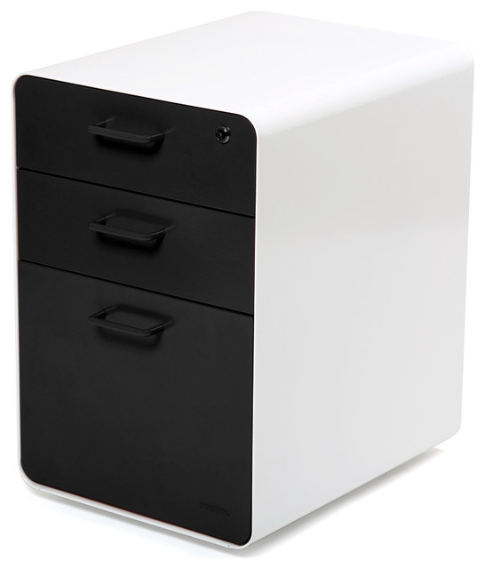 West 18th File Cabinet, White/Black - Contemporary - Filing Cabinets