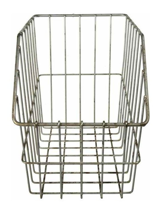Grocery Store Display Wire Basket - Vintage wire grocery store display bin that was used for Gerber Baby Food in the 1950's. Great for home office desktop storage or shelf organization. Rustic finish.