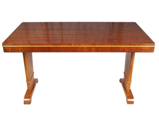 Pre-owned Mid-Century Swedish Rosewood Table - Swedish Mid-Century modern rosewood table, perfect in the dining room or a mid century style office. Ash bead around the table and legs. Veneer has been professionally repaired in a few places as seen in photos.