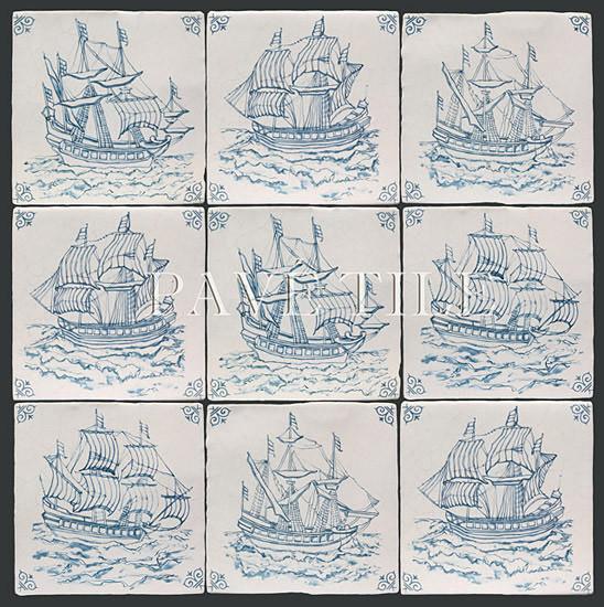 Blue and White 17th Century Antiqued Delft Tile tile